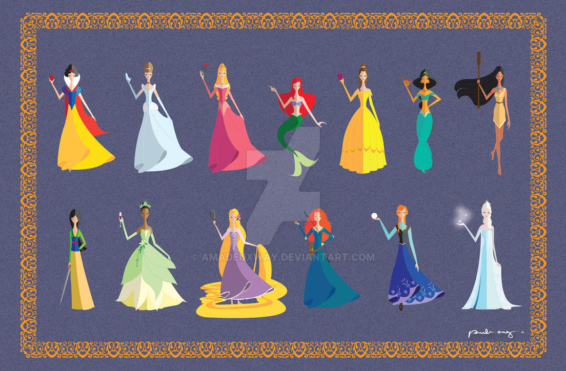 13 Origami style Disney Princesses by AmadeuxWay