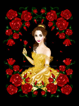 Belle in iconic yellow gown by AmadeuxWay