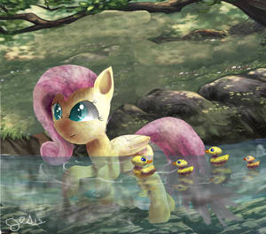 FlutterShy and Baby ducks