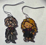 Hermione and Harry earrings by Lovelyruthie