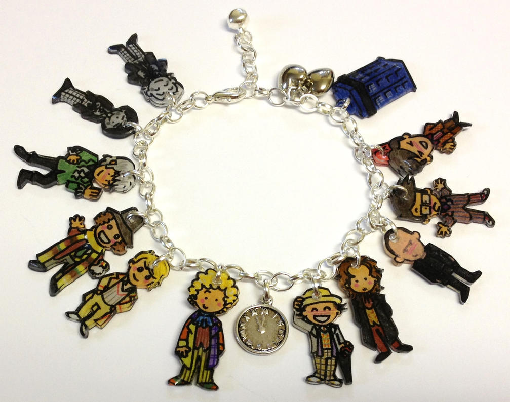 Kawaii Doctor Who Time Lords charm bracelet by Lovelyruthie
