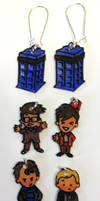 Doctor Who Sherlock  interchangeable earrings set by Lovelyruthie
