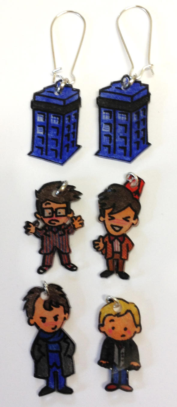 Doctor Who Sherlock  interchangeable earrings set by Lovelyruthie