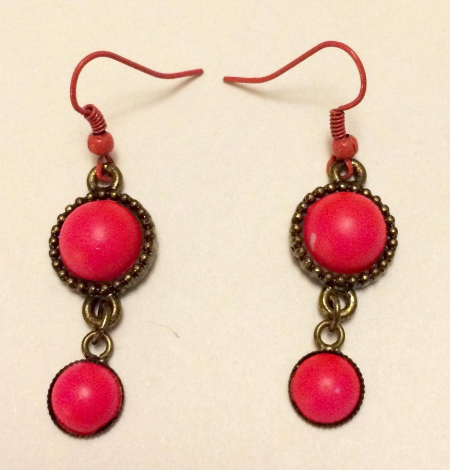 Neon Pink earrings by Lovelyruthie