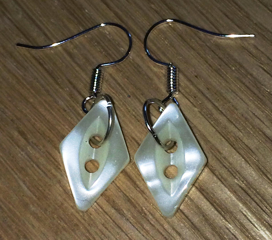 Mother of Pearl diamond button earrings by Lovelyruthie