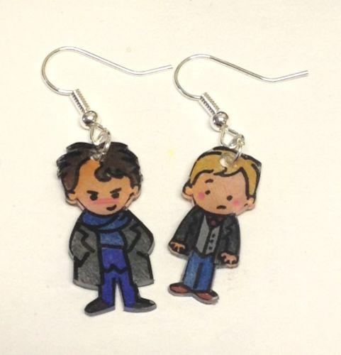 Sherlock and John earrings by Lovelyruthie