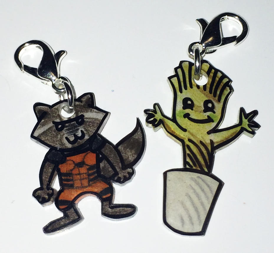 Groot and Rocket charms by Lovelyruthie