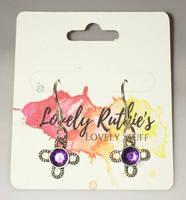 Purple crystal flower earrings by Lovelyruthie