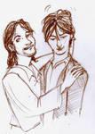 Sirius scruffles Remus by Lovelyruthie
