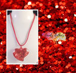 Red Leather Glitter Heart Necklace by Lovelyruthie
