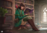 Elf wizard goes to the library