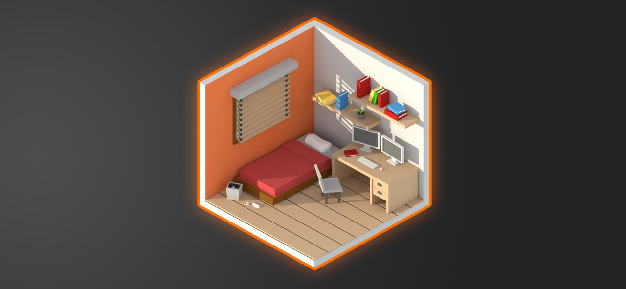 Blender Isometric Room low poly by jayanam