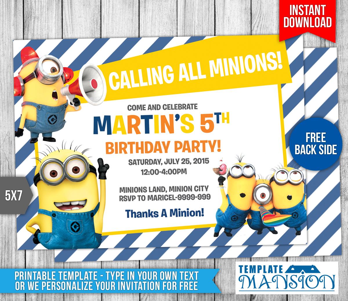 Minions Birthday Invitation 7 by templatemansion on DeviantArt