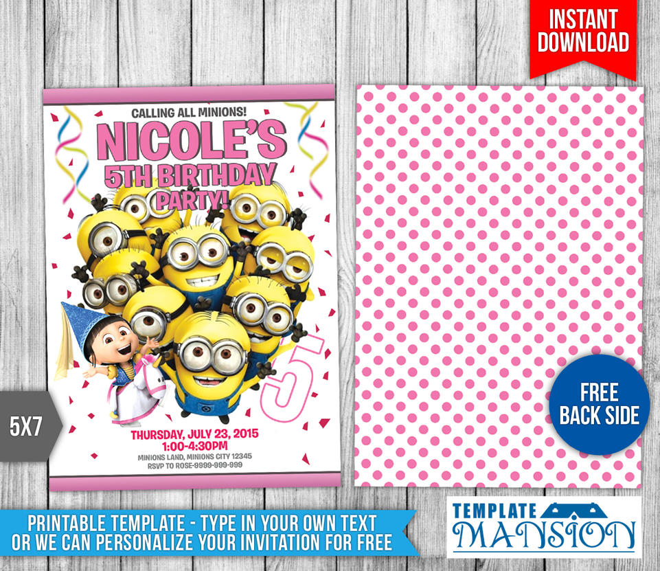 Minions Birthday Invitation Templates By Templatemansion On DeviantArt - 5x7 birthday invitation template