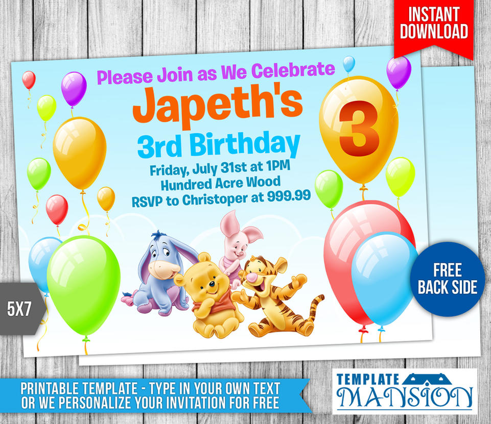 Winnie the Pooh Birthday Invitation by templatemansion on DeviantArt