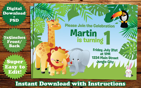 safari animals birthday invitation template 1 by templatemansion