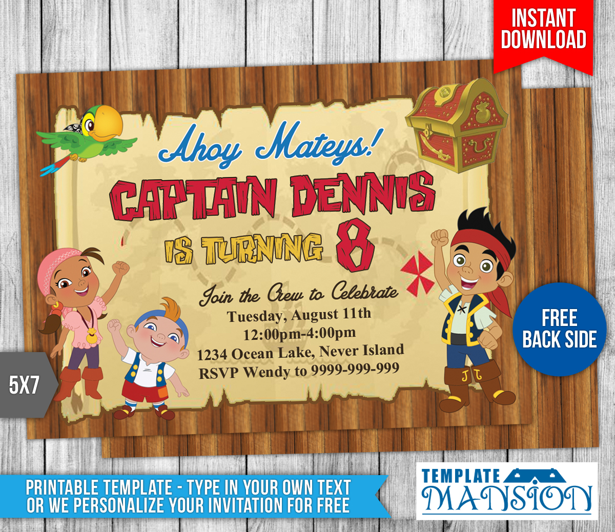 Jake and the NeverLand Pirates Invitation #2 by templatemansion