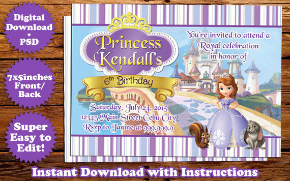 Sofia The First Birthday Invitation Template 2 By Templatemansion