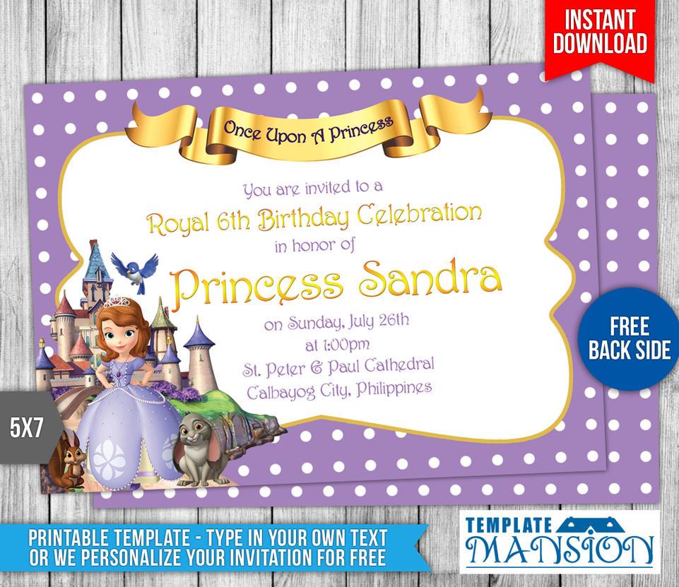 Sofia The First Birthday Invitation #1 By Templatemansion ...