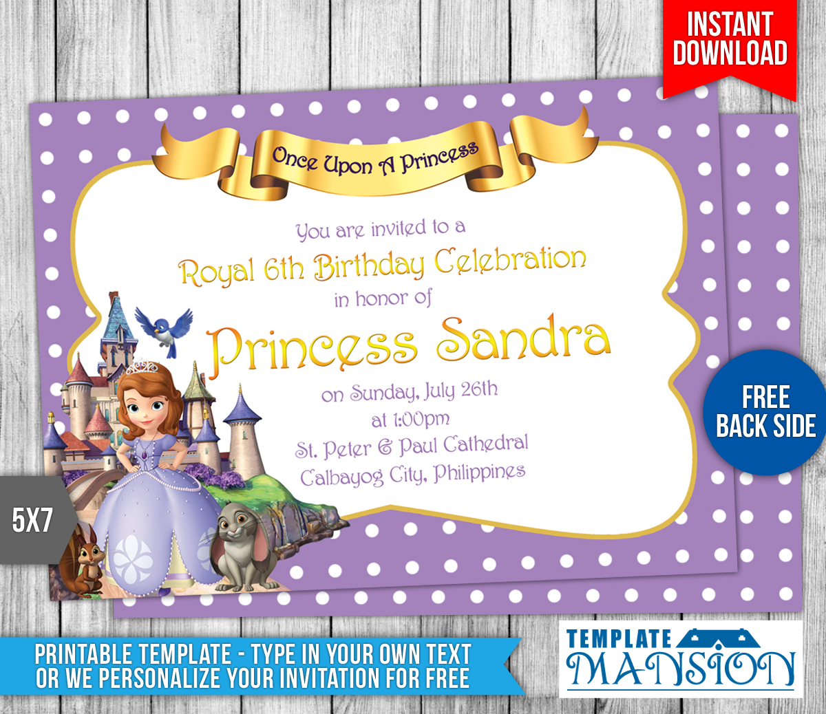 Sofia The First Birthday Invitation By Templatemansion On - Birthday invitation template sofia the first