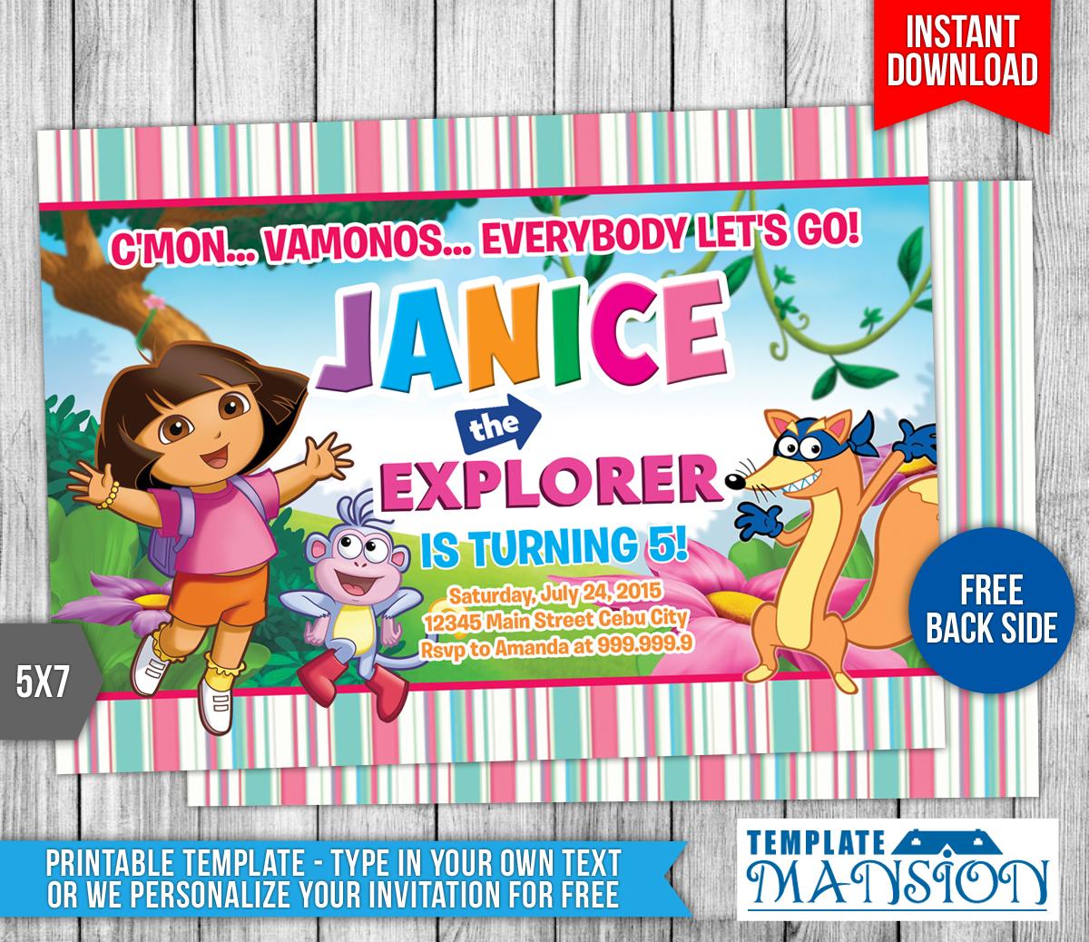 Dora The Explorer Birthday Invitation 4 By Templatemansion