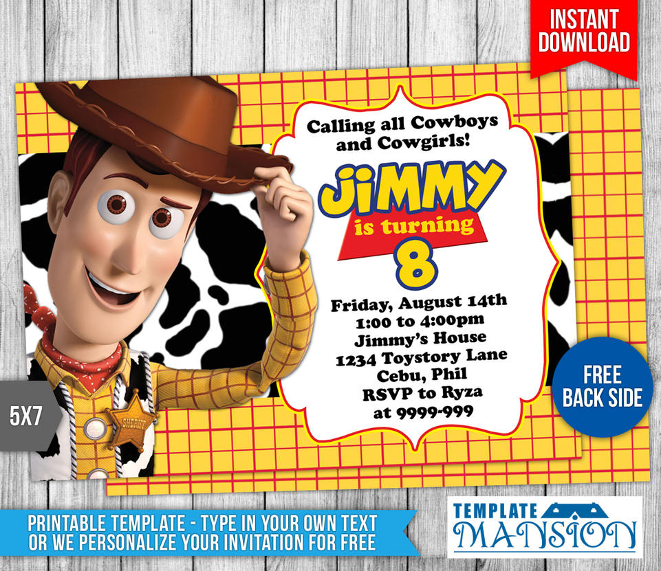 Woody toys story birthday invitation by templatemansion on for Toy story invites templates free