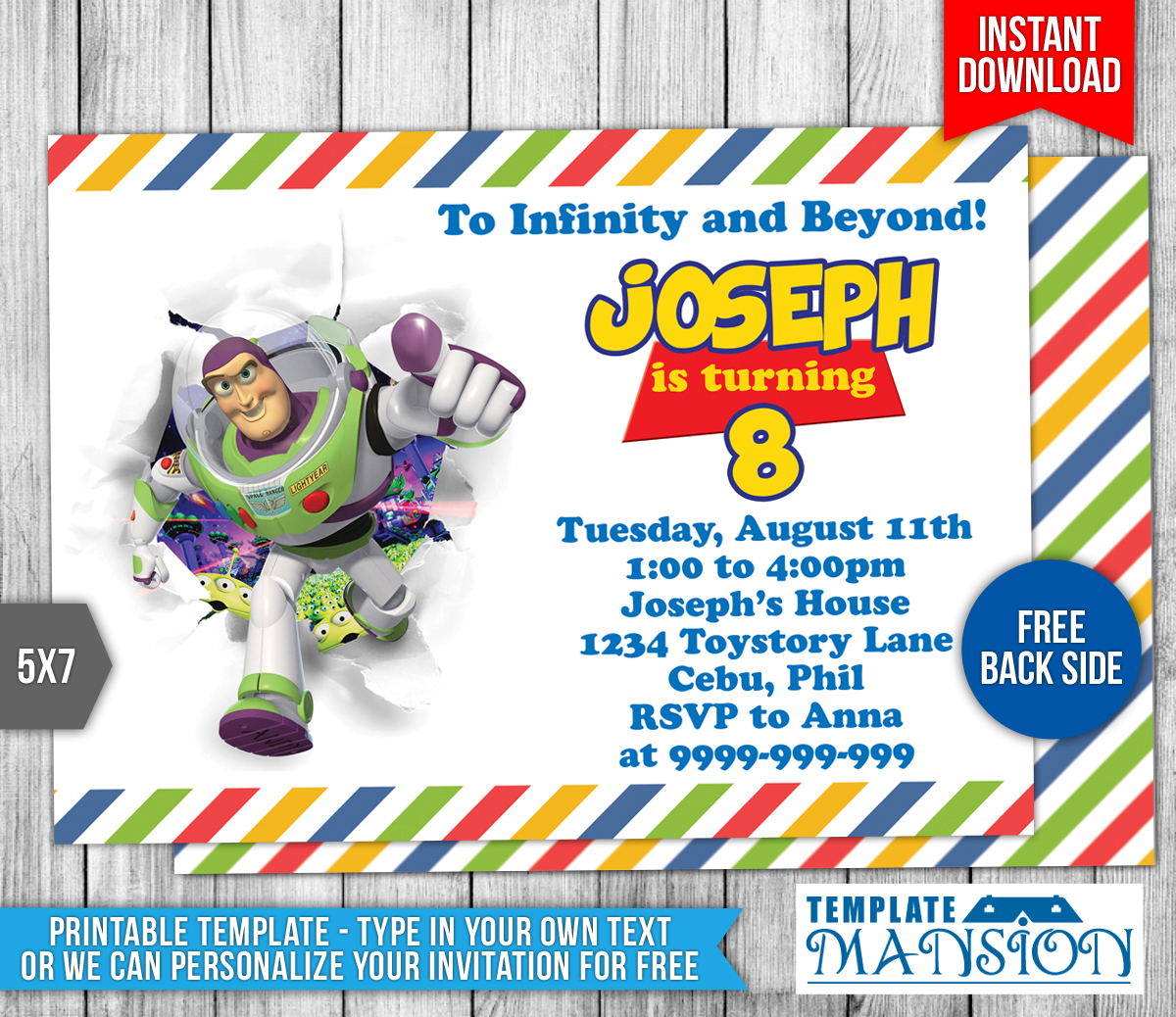 Buzz lightyear toy story birthday invitation 1 by for Toy story invites templates free