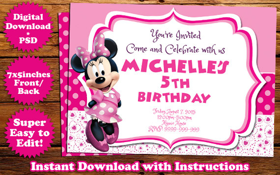 Minnie mouse birthday invitation template by templatemansion on minnie mouse birthday invitation template by templatemansion filmwisefo
