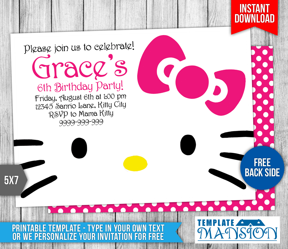 Hello Kitty Mansion Hello Kitty Birthday Invitation By Templatemansion On