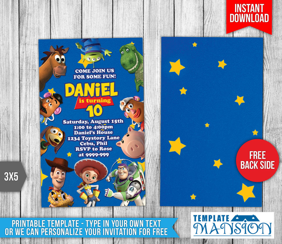 Disney 39 s toy story birthday invitation by templatemansion for Toy story invites templates free