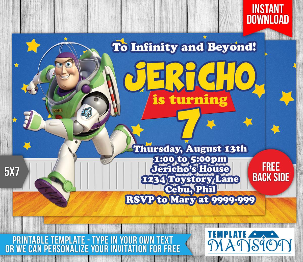 Buzz Lightyear Toy Story Birthday Invitation By Templatemansion