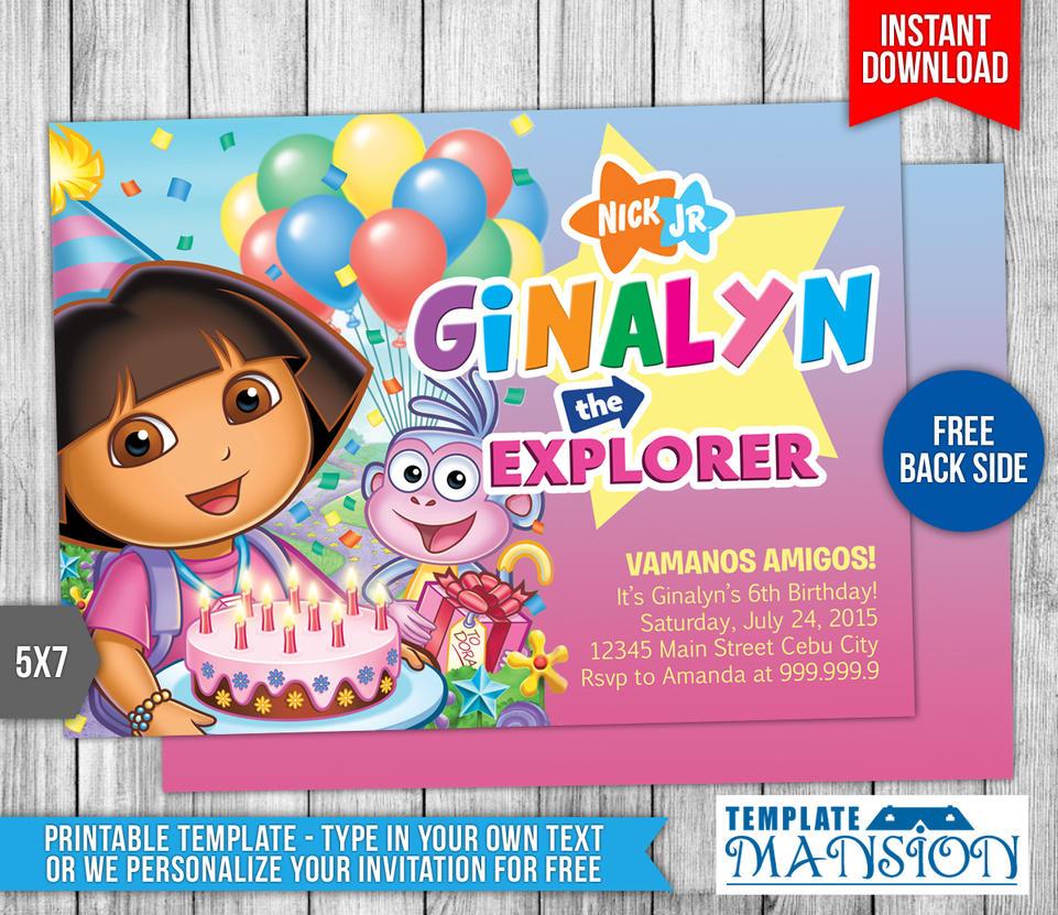 Dora the Explorer Birthday Invitation #3 by templatemansion on ...