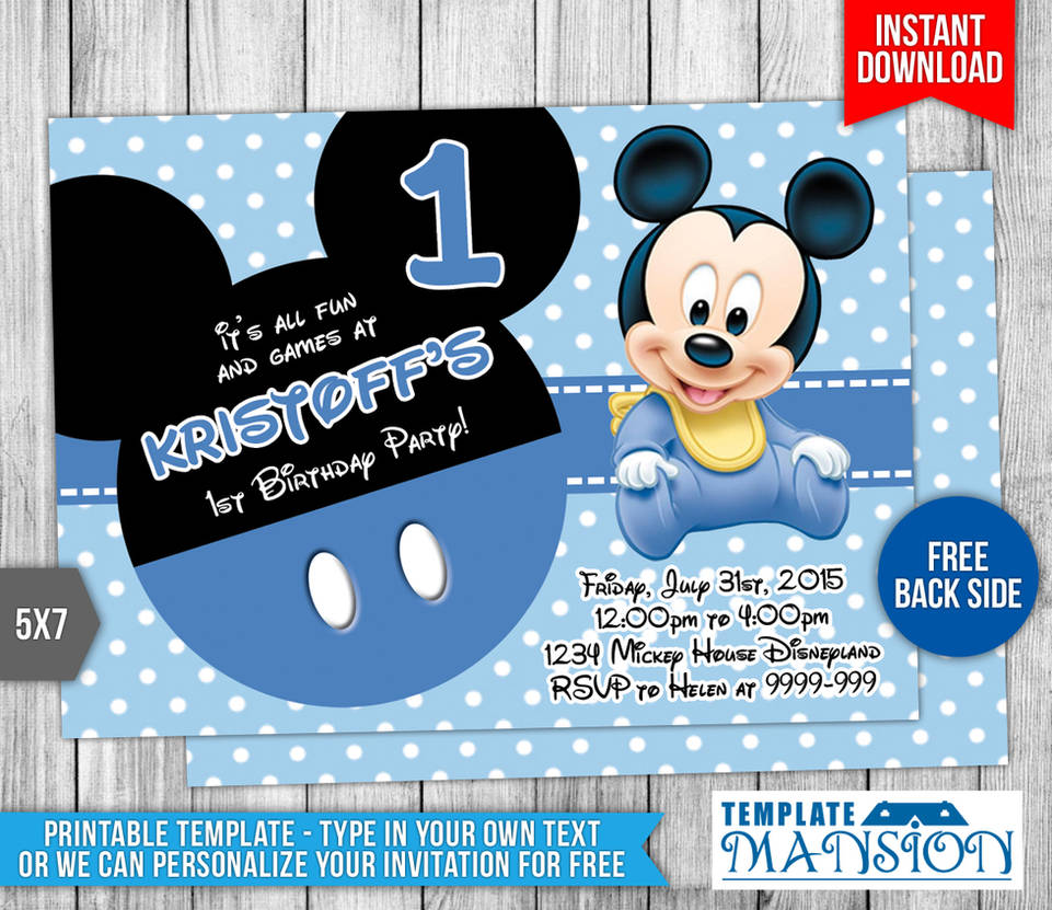 Baby Mickey Mouse Birthday Invitation By Templatemansion On Deviantart