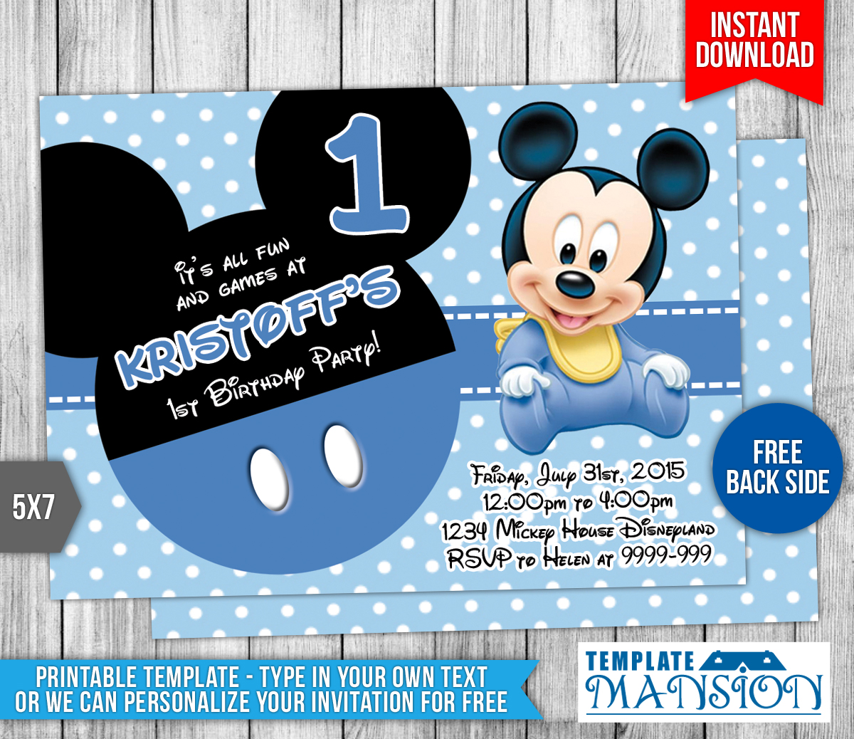 Baby Mickey Mouse Birthday Invitation by templatemansion ...