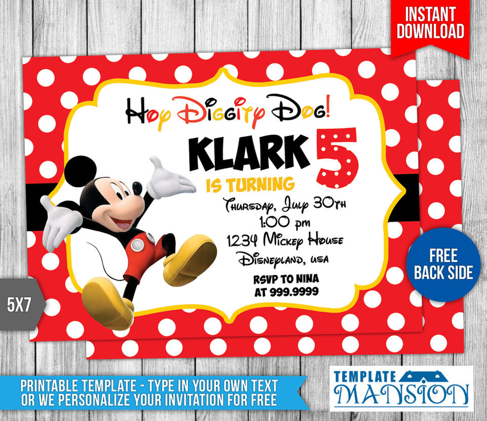 Disney Invitation Template - Mickey mouse birthday party invitation templates