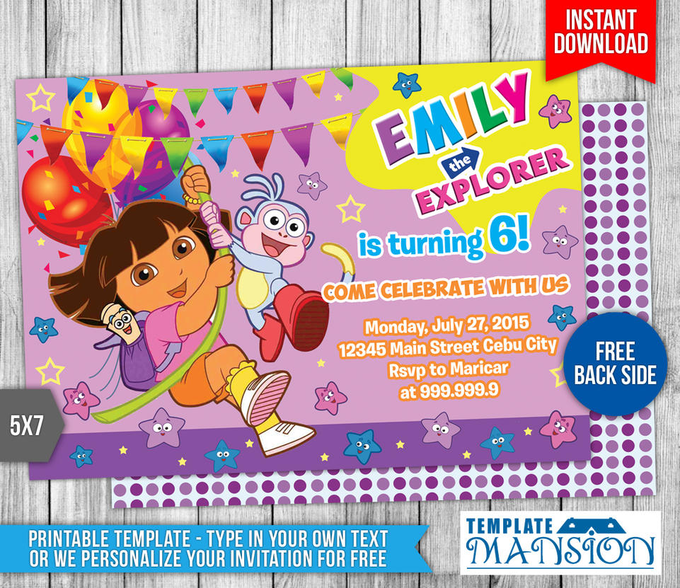 Dora the explorer birthday invitation 1 by templatemansion on dora the explorer birthday invitation 1 by templatemansion filmwisefo