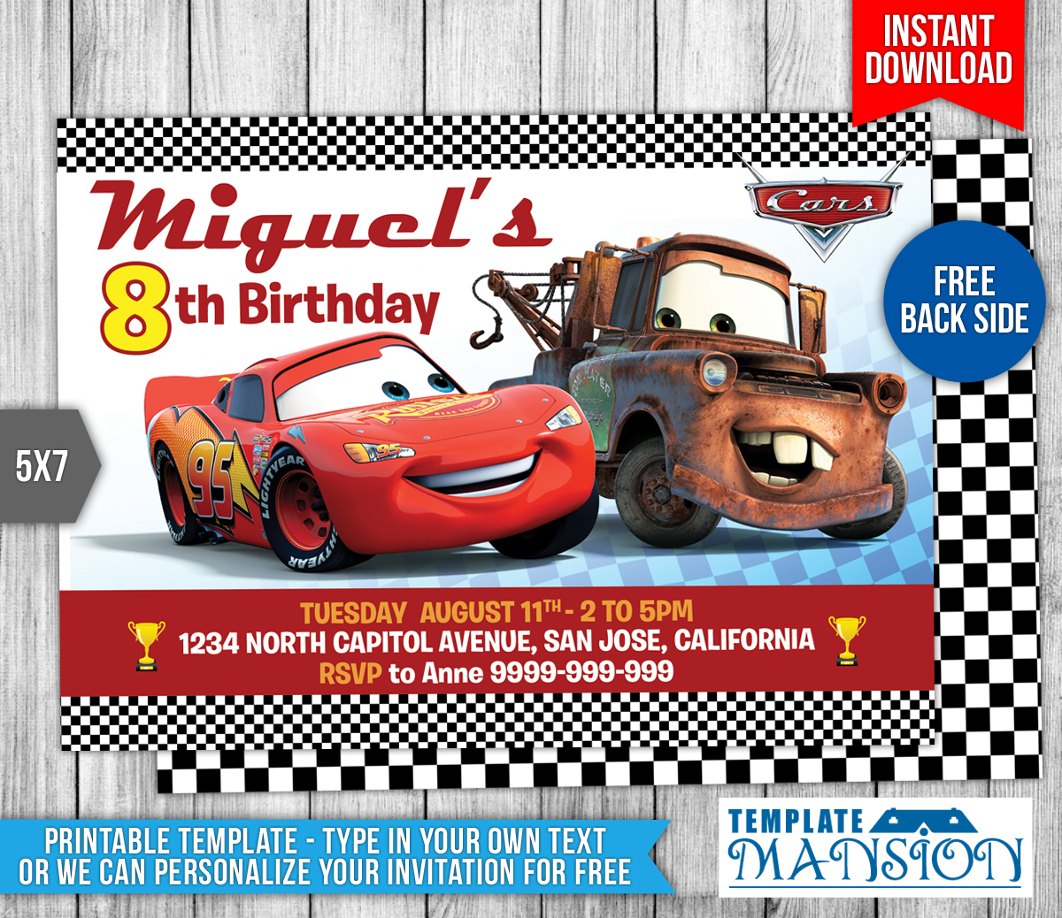 picture relating to Disney Cars Birthday Invitations Printable Free named Disney Autos Birthday Invites Tickets - Letter