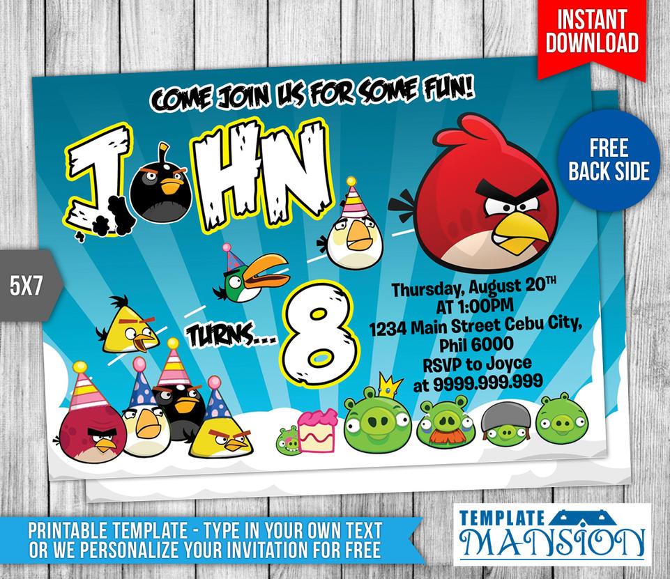 Angry Birds Birthday Invitation #2 by templatemansion on DeviantArt