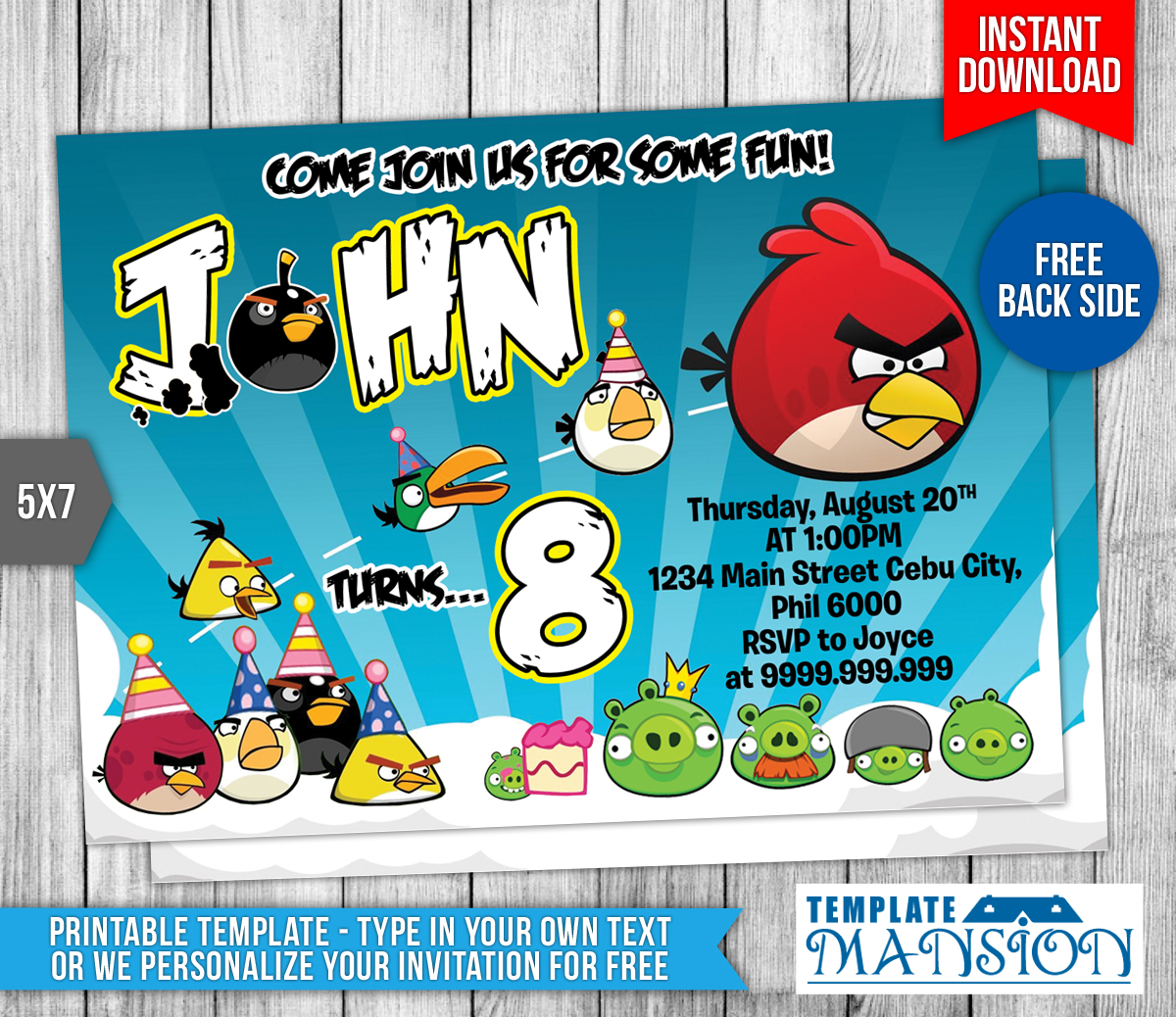 Angry Birds Birthday Invitation #2 By Templatemansion On