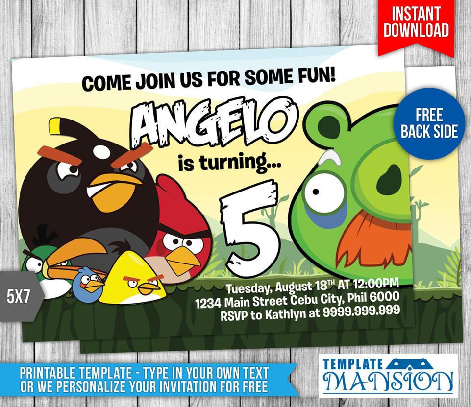 Angry Birds Birthday Invitation #4 by templatemansion on DeviantArt