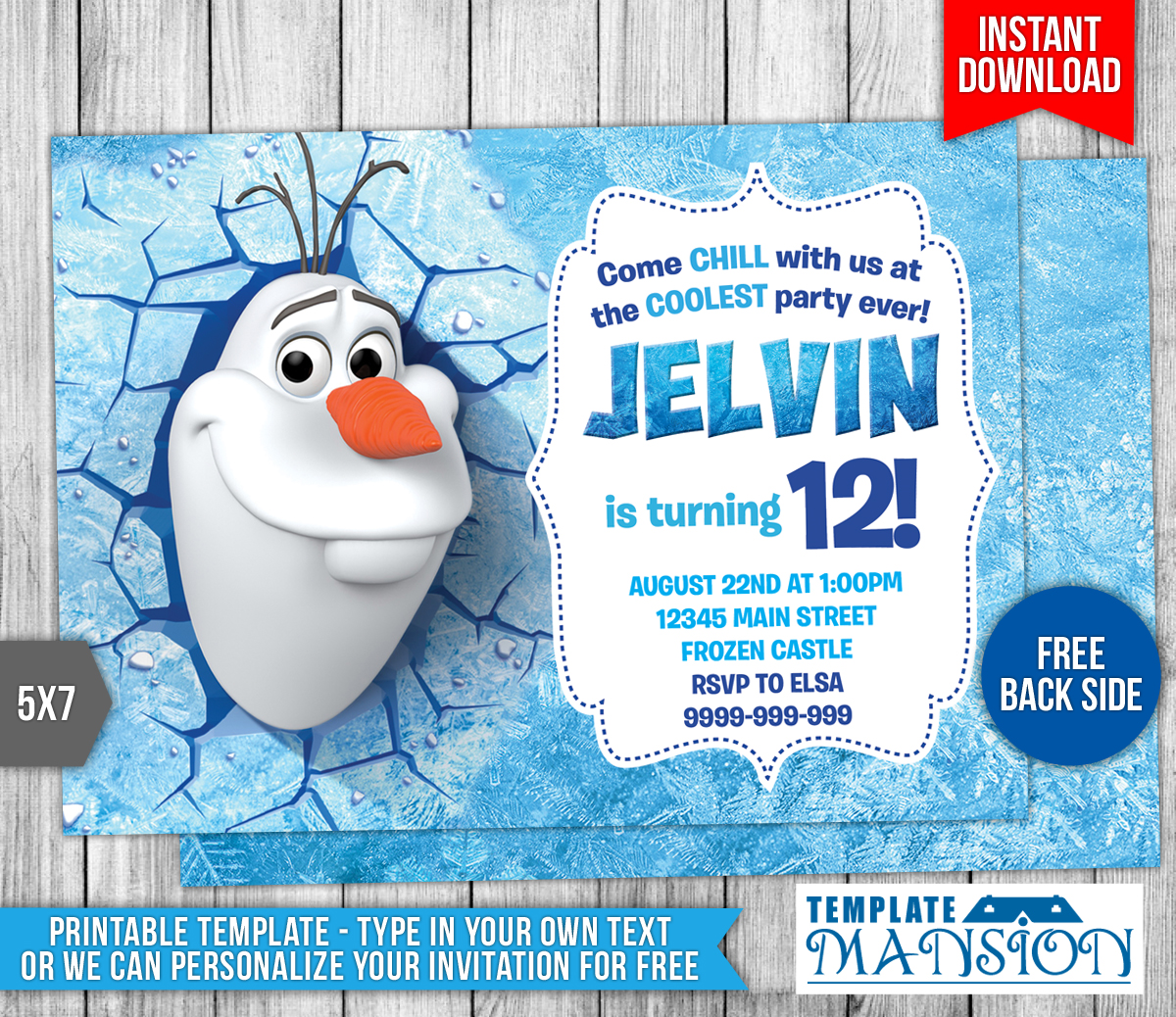 Olaf Disney Frozen Birthday Invitation by templatemansion ...