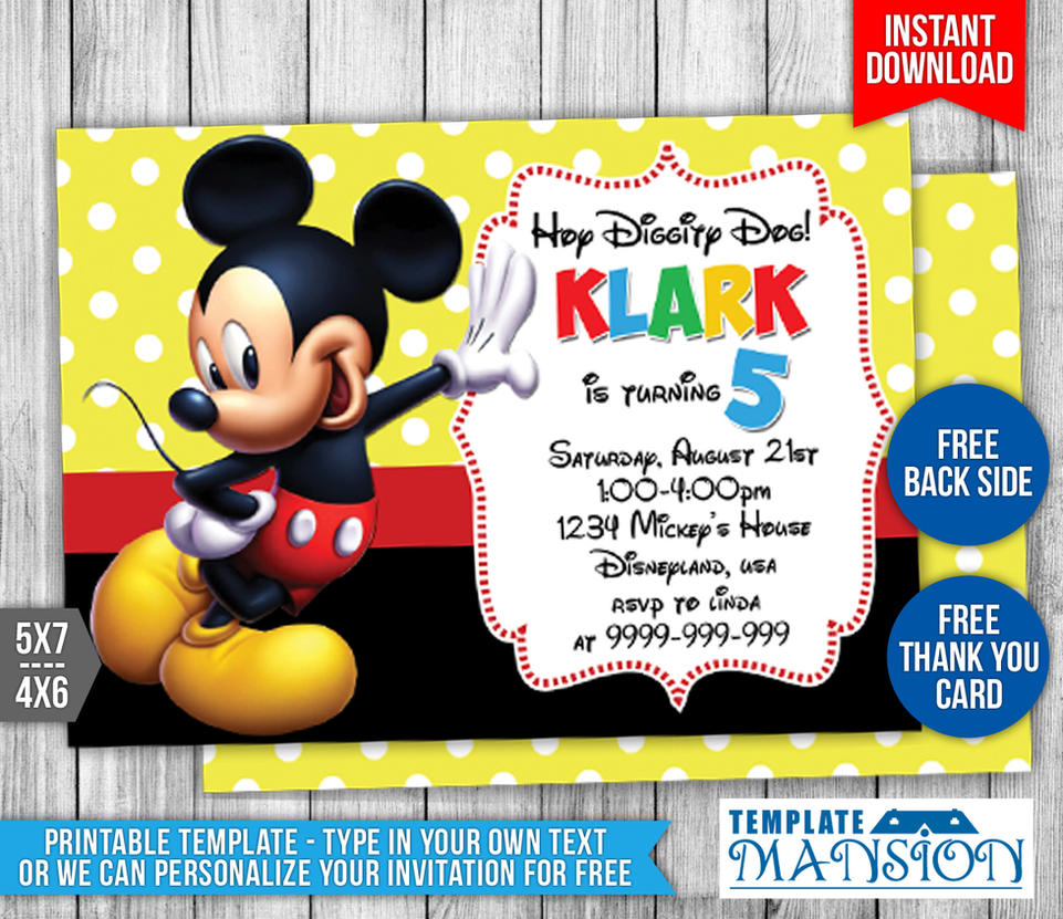 Mickey mouse birthday invitation 2 by templatemansion on deviantart mickey mouse birthday invitation 2 by templatemansion filmwisefo