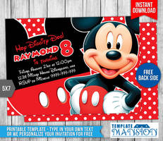Mickey Mouse Birthday Invitation #1 by templatemansion