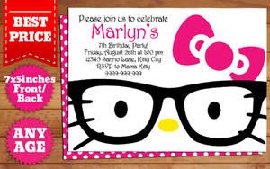 DOWNLOAD: Hello Kitty Nerd Birthday Invitation by templatemansion