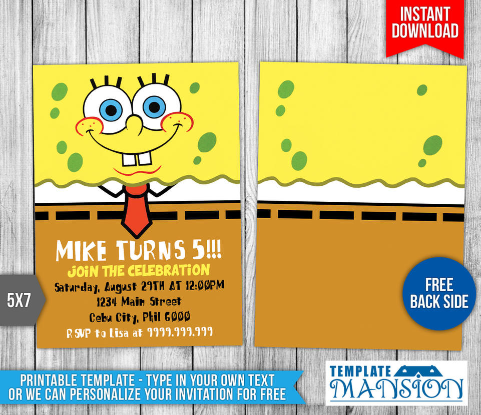Spongebob Squarepants Birthday Invitation 1 By Templatemansion On