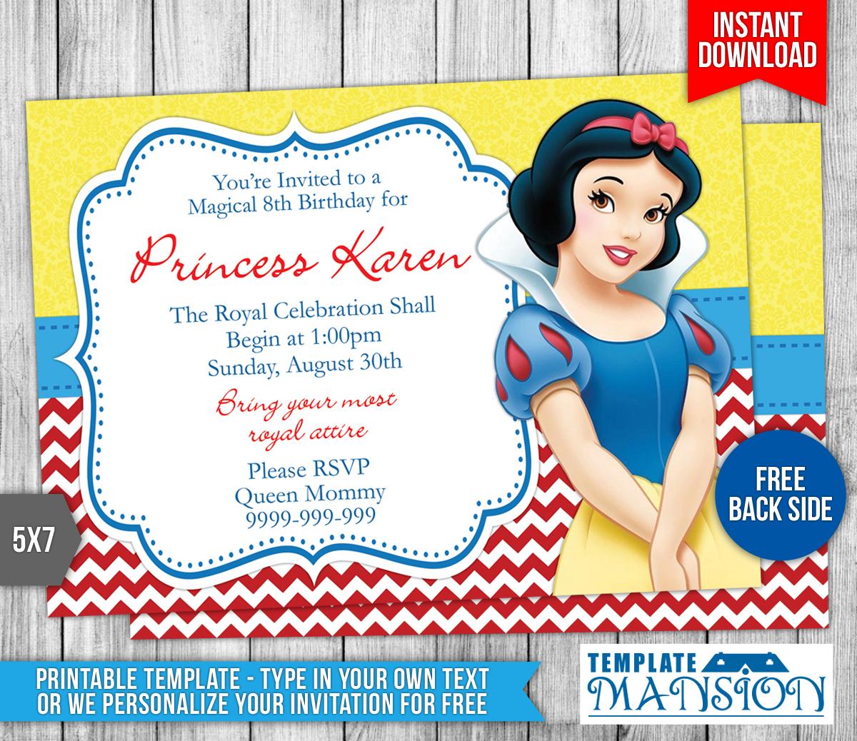 Snow White Birthday Invitation 2 By Templatemansion On Deviantart