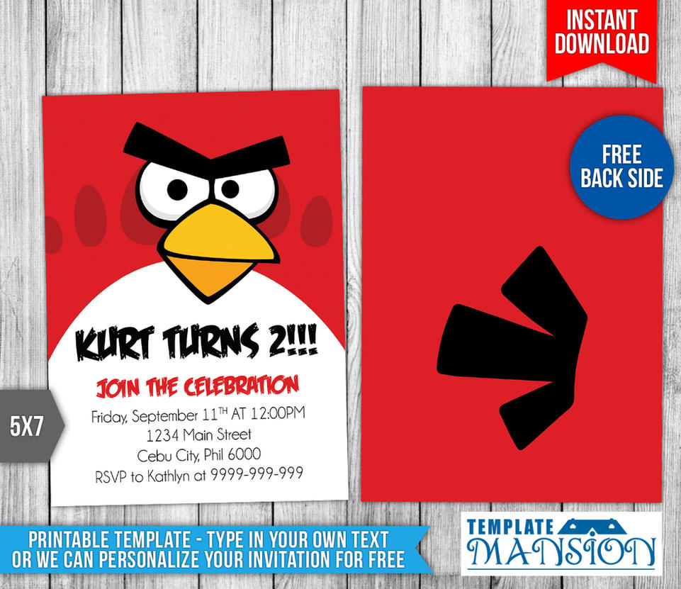 Angry Birds Birthday Invitation By Templatemansion On DeviantArt - Party invitation template: angry birds birthday party invitation template free