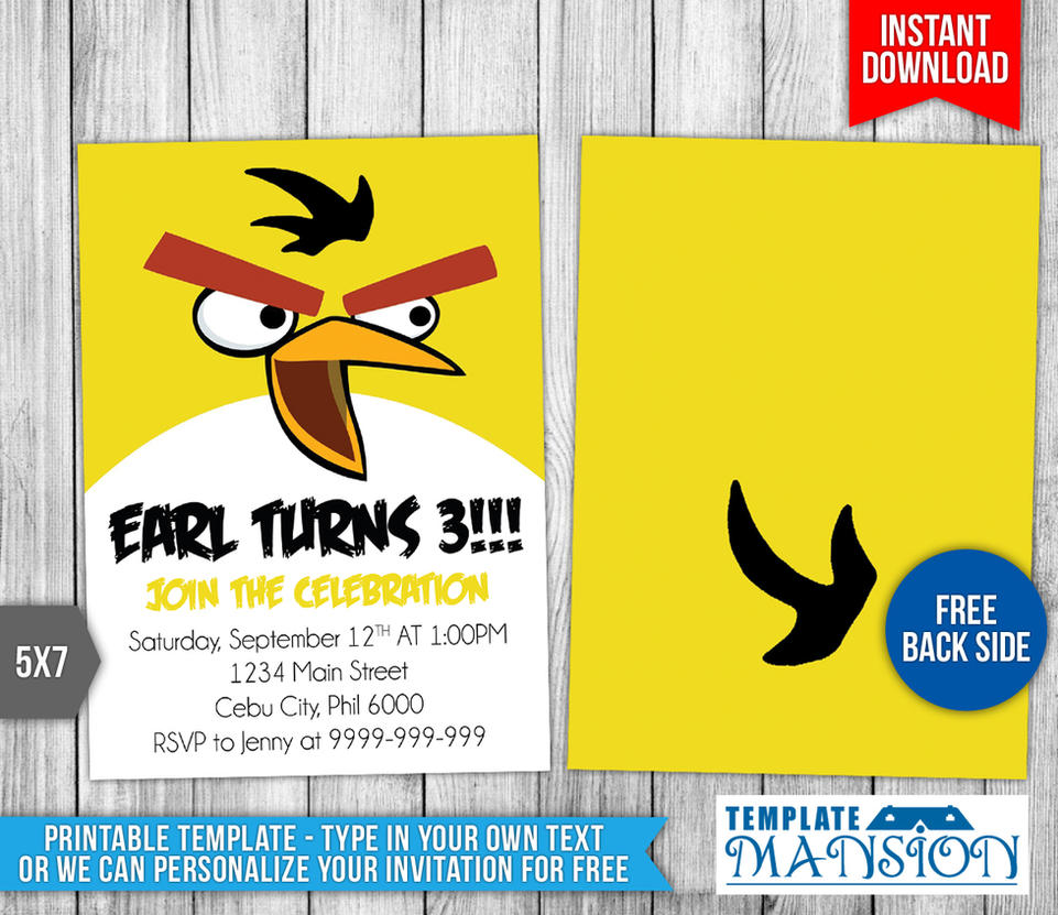 Angry Birds Birthday Invitation #1 by templatemansion on DeviantArt