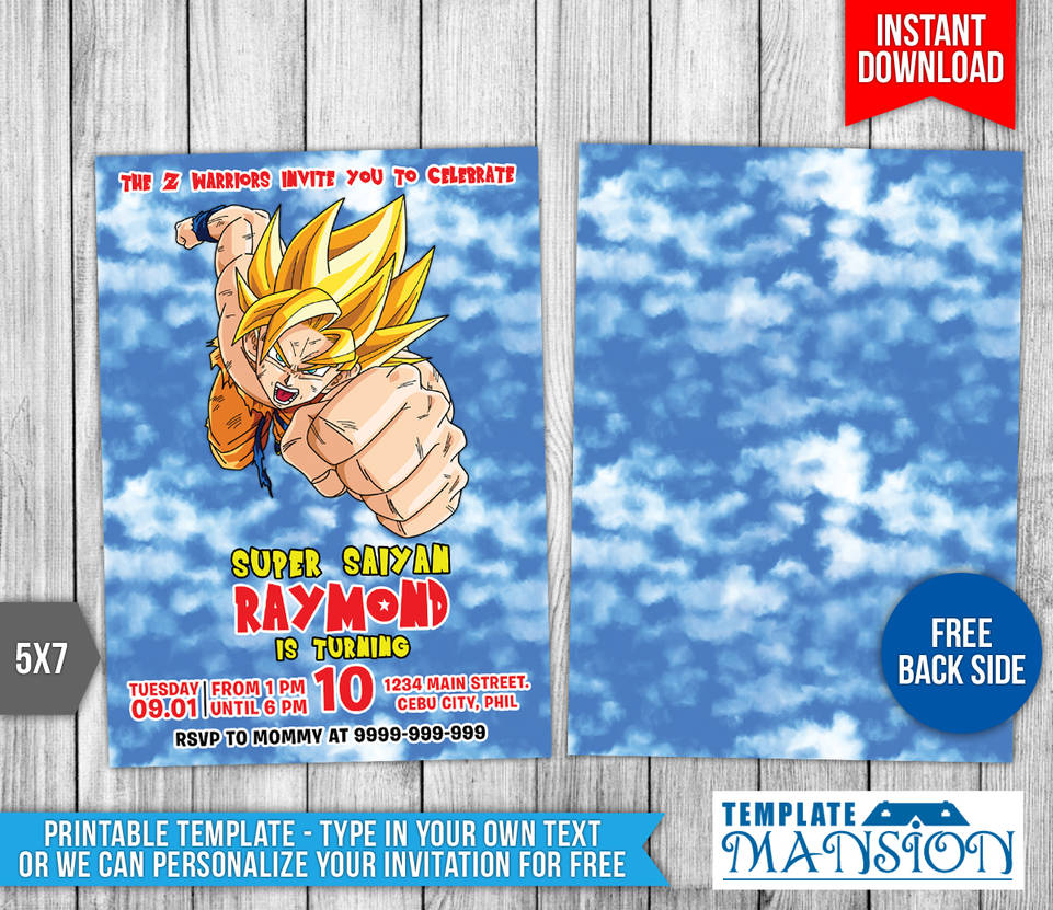 Goku Dragon Ball Z Birthday Invitation 1 By Templatemansion