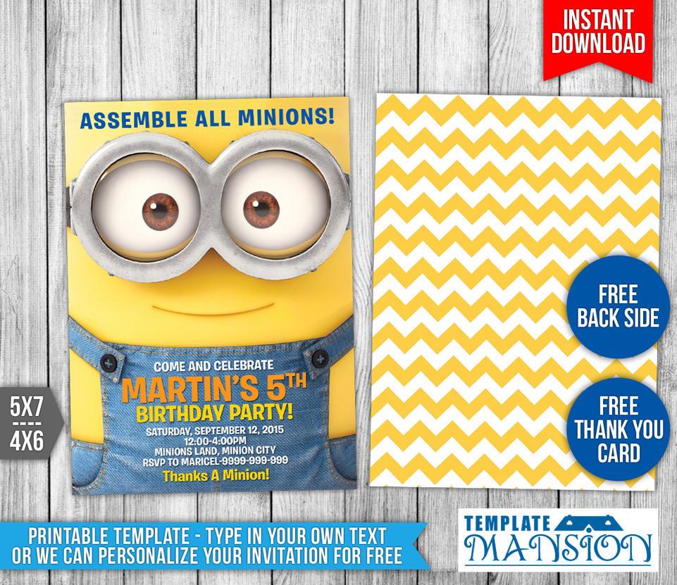 Minions Birthday Invitation 3 By Templatemansion On